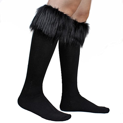 Leg Warmers Cover (ECOSCO Women SOFT COZY FUZZY Faux Fur Leg Warmers Sock Boots Cuffs Cover Black)
