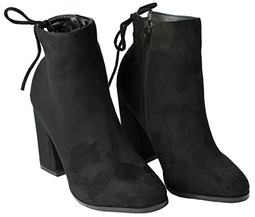Women GL Almond Toe Fashion Slouch Lace-Up Zip Faux Suede Motorcycle Chunky Heel Ankle Boots Black 7Vk5bjt
