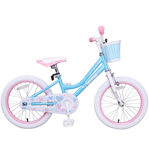 JOYSTAR 18 Inch Kids Bike for Girls, Child Bicycle with Kicktand, Basket & Hand Brake for 5 6 7 8 9 Years Kids, Children Cycle, Sky Blue