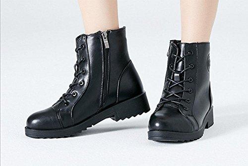 kuki-women, STIEFELETTEN, Damen Schuhe, Baumwolle Stiefel, Plus Samt, warm, Leder Boots, Stiefel, Mode, Freizeit schwarz