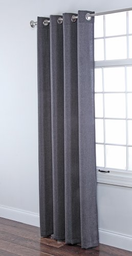 Stylemaster Home Products Twill and Birch Herringbone Woven Grommet Panel, 55 by 84-Inch, Charcoal