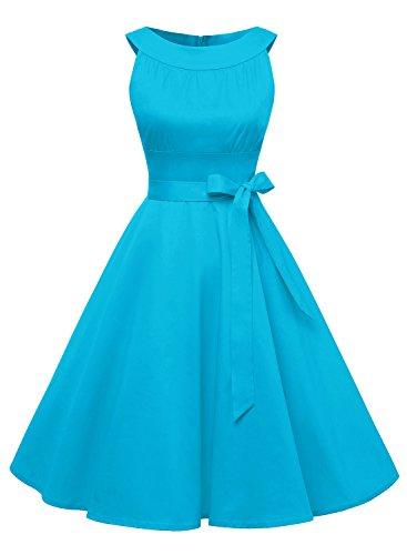 50s blue prom dress - 6