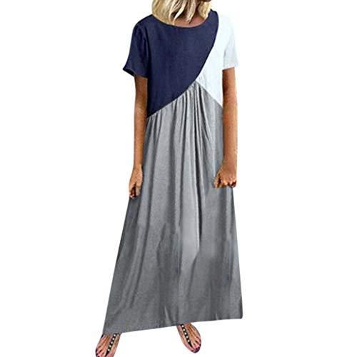 Floral Printed Maxi Dress Casual Summer Sundress Long Boho Beach Dress Plus Size LONGDAY Short/Long Sleeve Top