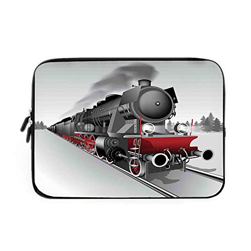 (Steam Engine Laptop Sleeve Bag,Neoprene Sleeve Case/Locomotive Red Black Train with Headlights on Steel Railway Track Graphic Print/for Apple MacBook Air Samsung Google Acer HP DELL Lenovo As)