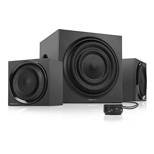 Speedlink Quanum aktives 2.1 Lautsprechersystem (35 Watt RMS Gesamtleistung, 70 Watt Peak Power, Tischfernbedienung, Holzgehäuse) schwarz
