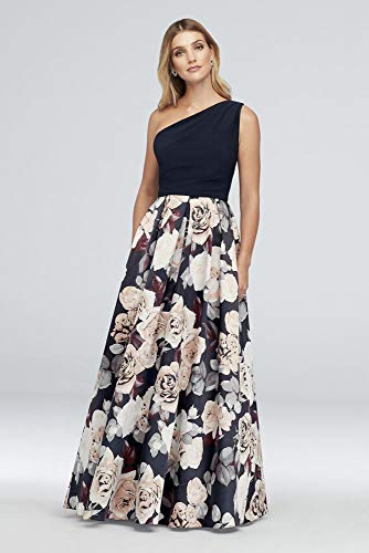 Printed Satin and Jersey One-Shoulder Ball Mother of Bride/Groom Gown Style A21528, Navy, 12
