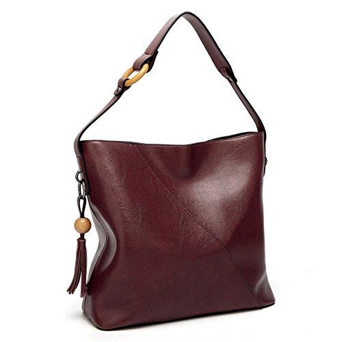 Bags Women Purse with Lady amp;Sue Tassel Vertical Vintage Handbag Leather Burgandy Tote Mn Satchel Work Shoulder Hobo twPx4UnCq