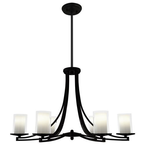 picture of DVI Lighting DVP9036GR-OP Chandelier with Opal Glass Shades, Graphite Finish