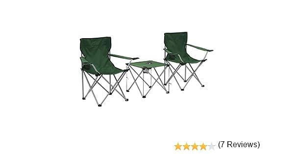 vidaXL Juego de Mesa y Sillas de Camping 3 Piezas Verde Patio ...