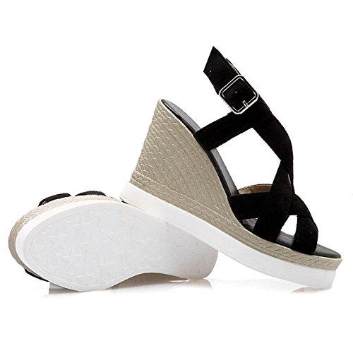 COOLCEPT Mujer Moda Strappy Plataforma Tacon De Cuna Heels Sandalias Slingback Negro