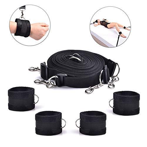 Bed Rêštráint Kit for Couples B`D`S-M Game Play Bōňdägéromance Rêštráinting Adjustable Straps Wrist and Ankle Cuffs Hàňscùffs for Women, Bed Set Purple Nylon