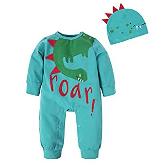BIG ELEPHANT Baby Boys'2 Pieces Cute Dinosaur Long Sleeve Romper Pajama with Hat Style C T21-59 0-3 Months