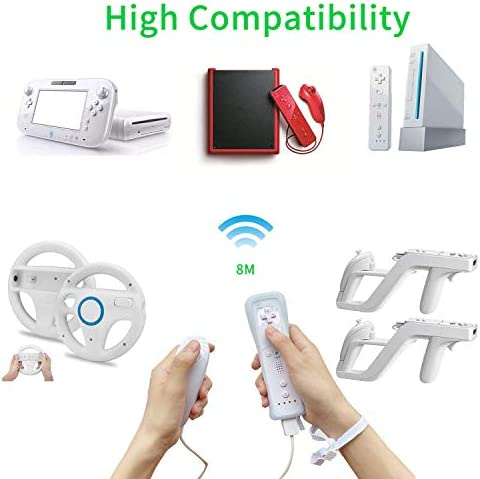 SogYupk - Mando a distancia Wii con Nunchaku Joystick, utilizado para Nintendo Wii y Wii U Consola, Gamepad con funda de silicona y correa de muñeca (1 juego), color blanco 8