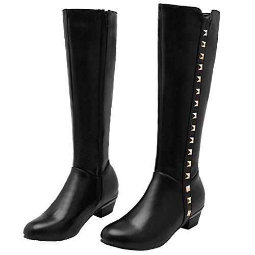 AIYOUMEI Damen Chunky Heel Kniehohe Stiefel mit Nieten und 4cm Absatz Bequem Modern Winter Knee High Boots Schwarz