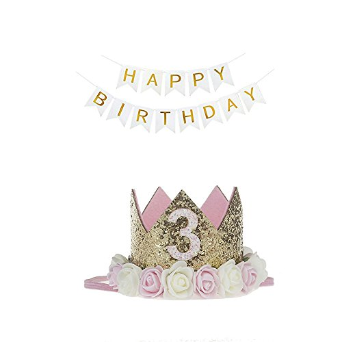 3rd Birthday Hat Princess Tiara Crown Baby Girl Headband with a Happy Birthday Banner