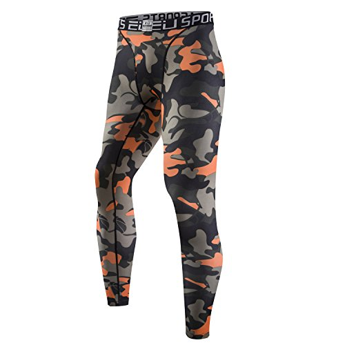Palazze Camo Long Pants Compression Fitness Leggings Base layer - L - Orange - Asian Size - Choose 1 Size Up