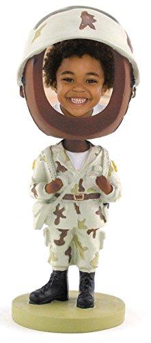 Army Soldier Photo Bobble Head - Dark Skin Tone