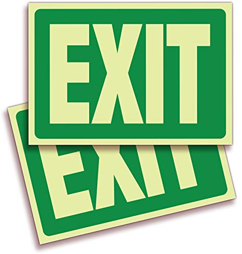 (Exit Photoluminescent Signs Stickers - 2 Pack 10x7 Inch - Premium Self-Adhesive Glow in The Dark Vinyl, Laminated for Ultimate UV, Weather, Scratch, Water and Fade Resistance, Indoor & Outdoor)