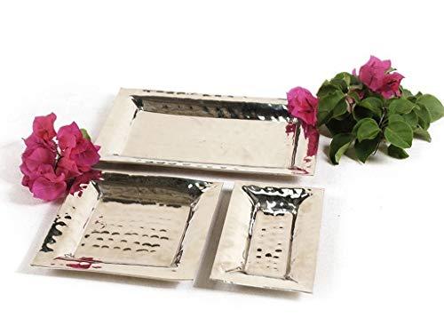 Kit 3 Bandejas em alumínio niquelado Lavabo ou aperitivos, 3 tamanhos Sarquis Samara