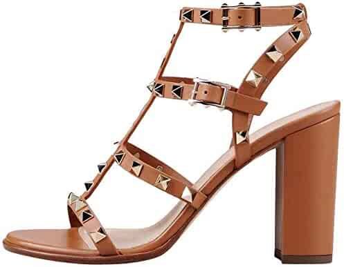 0b5b33d5 Comfity Leather Sandals for Women,Rivets Studded Strappy Block Heels  Slingback Gladiator Shoes Cut Out