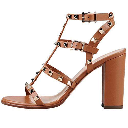Comfity Sandals for Women,Rivets Studded Strappy Block Heels Slingback Gladiator Shoes Cut Out Dress Sandals Size:8 2203 9cm Light Brown Pu Gold Rivets