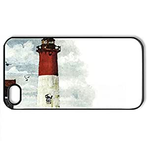 Red and White Lighthouse F1 - Case Cover for iPhone 4 and 4s (Lighthouses Series, Watercolor style, Black)