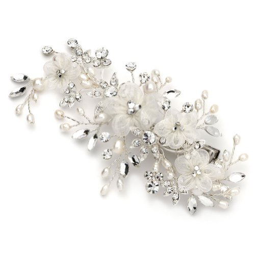 USABride Freshwater Pearl and Crystal Hair Clip, Bridal Flower Hair Accessory 2218