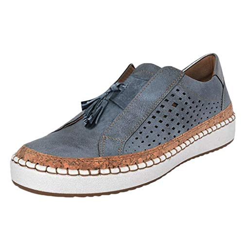 (New in Haalife◕‿Women Casual Walking Shoes Casual Hollow Out Slip-On Sneakers Soft Leather Loafers)