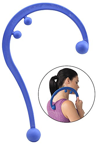 Empower Back and Neck Massager Tool, Trigger Point Self Massage Hook, Myofascial Release, Deep Tissue Massage Hook, Muscle Knots, Blue (Pressure Points On Body To Relieve Headache)