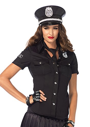 [Leg Avenue Women's 2 Piece Police Shirt and Tie Costume, Black, Small] (Costumes For Women Cop)