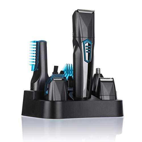Men's Grooming Kit, Luckyfine 6 in 1 Face and Body Trimmer Kit Electric Shavers for Men Hair Clipper, Rechargable Trimmer for Beard and Hair Styling US Plug