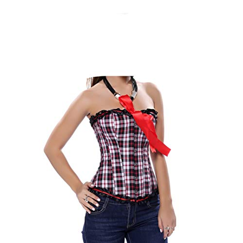 Women's Red Plaid Overbust Straps Corset Waist Cincher Outwear Halter Bustier with G-String