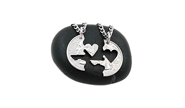 Heart interlocking quarter coin necklaces HS0067