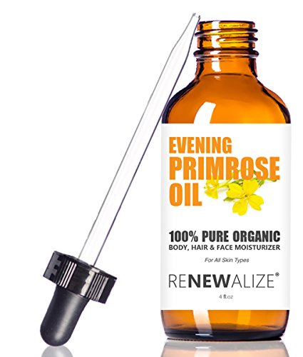 The Best Value - Organic EVENING PRIMROSE OIL by Renewalize in LARGE 4 OZ. DARK GLASS BOTTLE | Highest Quality , Cold Pressed Oil | All Natural Moisturizer for Luxurious Hair , Skin and Nails