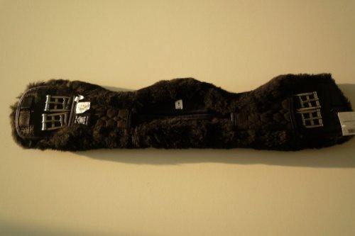 Mattes Sattelgurt-Kurzgurt, asymmetrisch, Lammfell abnehmbar, schwarz
