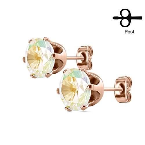 Stud Earring with Round CZ Rose Gold IP Over 316L Stainless Steel -1Pair (8mm, Aurora Borealis) by BodyJewelryOnline
