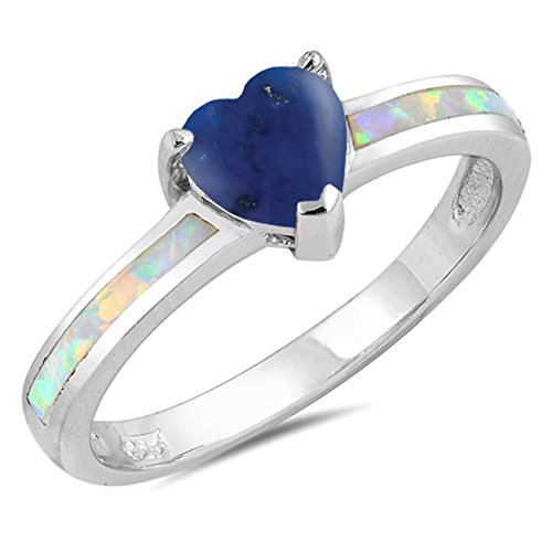 925 Sterling Silver Faceted Natural Genuine Blue Tanzanite Heart Promise Ring Size 10