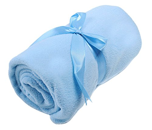 Pack of 12 Pieces Soft Solid Color Fleece Infant Baby Blanket Throw 30 x 40 Best Price - Blue