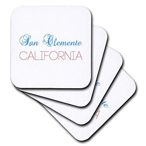 3dRose Alexis Design - American Cities California - San Clemente, California, red, blue text. Patriotic home town design - set of 8 Ceramic Tile Coasters (cst_302720_4) (San Flowers Clemente)