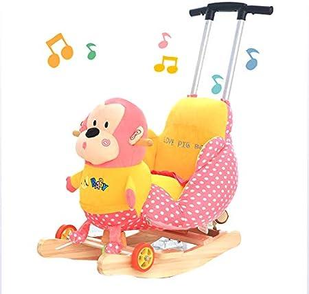 JTYX Caballo Mecedora para niños con música Sillón Mecedora para bebé de Madera Maciza Lavable Ajustable Regalo de cumpleaños Putter
