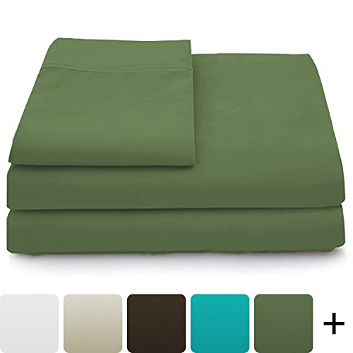 (Cosy House Collection Luxury Bamboo Bed Sheet Set - Hypoallergenic Bedding Blend from Natural Bamboo Fiber - Resists Wrinkles - 4 Piece - 1 Fitted Sheet, 1 Flat, 2 Pillowcases - Queen, Sage Green)