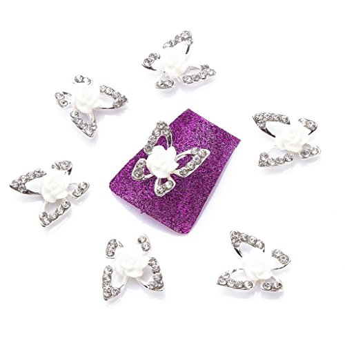 EFT 10pcs Fashion Nail Charms Beads Elegant Silver Butterfly White Rose Rhinestone Gem 3D Metal Nail Art Tips Slice Manicure Accessories for Nail Art Designs
