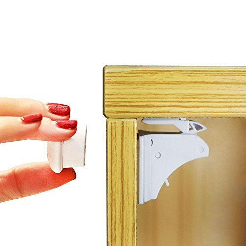 Baby Safety Magnetic Cabinet Locks Easy to Install Adhesive Locks (No Drill) 4 Strong Safety Locks + 1 Key