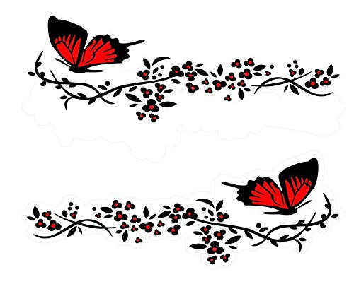 giftcity Butterfly Flower Decal 1 Set Car Graphics Vinyl Sticker Decals for Cars/Ford/SUV/Jeep Wrangler, Universal Car Body Side Bumper Window Decals (Red)
