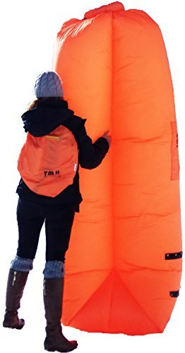 Inflatable Air Chair Lounger by T.M.H. Products | Strong & Durable Lazy Sofa | Comfortable, Portable & Multifunctional Carry Bag with Pockets | Couch Size: 260X70cm, Orange Color