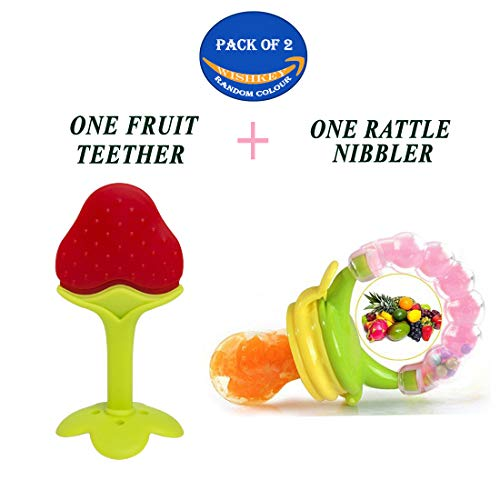 WISHKEY Silicone Fruit Teether and Food Nibbler for Baby (Multicolour) -Combo Pack of 2