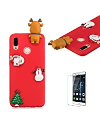 Cute Cartoon Case For Huawei P20 Lite,Funyee Stylish 3D Christmas Deer Design Ultra Thin Soft TPU Silicone Case for Huawei P20 Lite,Anti-scratch Rubber Durable Shell Smart Phone Case with Free Screen Protector,Red