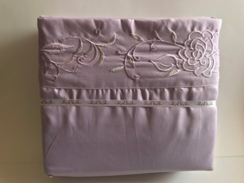 Planet Linens 4 Piece Bed Sheet Set 2000 Egyptian Cotton Embroidery Deep Pocket Hotel Quality (Purple, King)