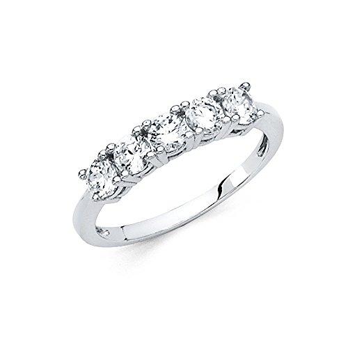 CZ Five Stone Wedding Band 14k