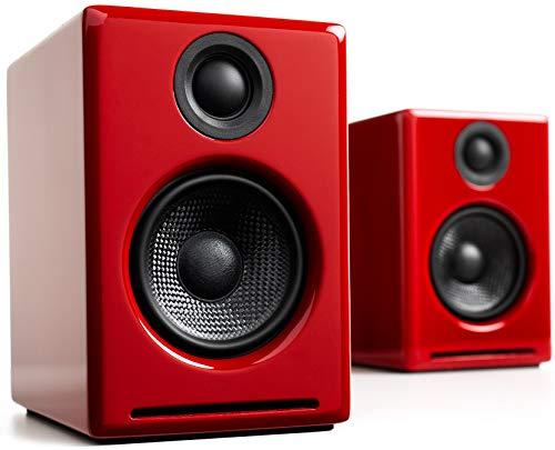 Audioengine A2 Plus 60W Powered Desktop Speakers, Built in 24Bit DAC and Analog Amplifier (Red) (Rca Studio Speakers)